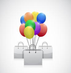 shopping bag colorful balloons illustration
