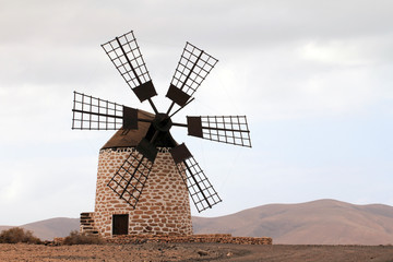 Tuinposter Molens Moulin de Puesta del sol de Tefia (Fuerteventura - Espagne)