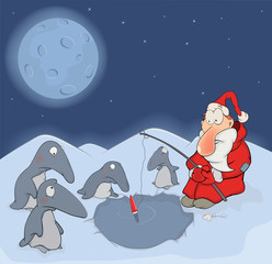 Santa Claus and penguins cartoon