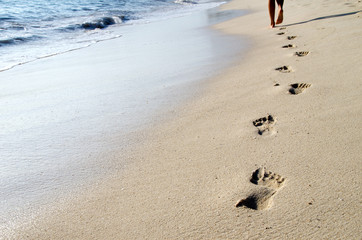 Footprints in beach
