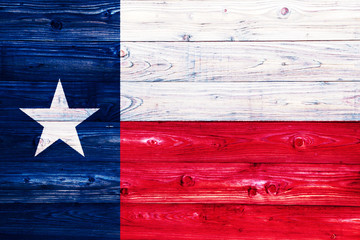 Autocollant pour porte Texas Flag of Texas on wooden surface
