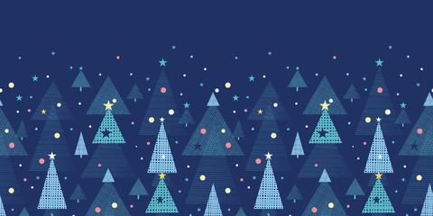 Abstract holiday Christmas trees horizontal seamless pattern