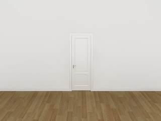 door on white wall ,3d