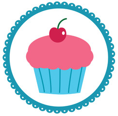 Cupcake in a Scalloped Circle