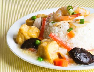 tofu, seafood and Vegetable Stir Fried, Steam Rice