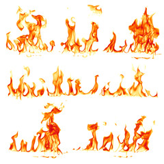 Deurstickers Vuur Fire flames isolated on white background