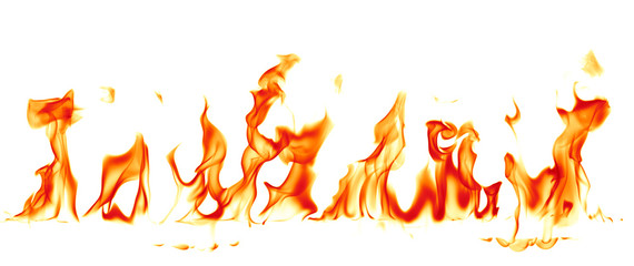 Fotorolgordijn Vuur Fire flames isolated on white background