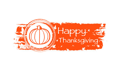 happy thanksgiving drawn banner with pumpkin and fall leaves