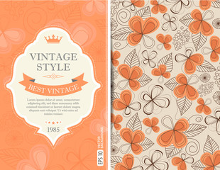 Vintage template with decorative floral