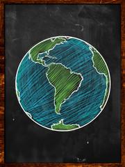 Green blue Earth on Blackboard