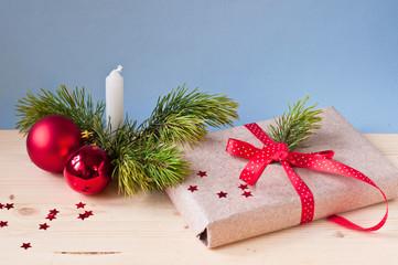 Christmas gift and candle