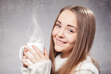 Beautiful Girl With Cup of Tea or Coffee