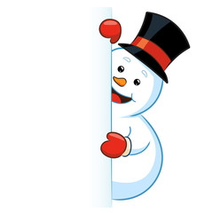 Snowman holding blank sign