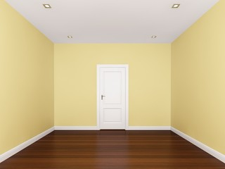 yellow wall , empty room,3d nterior