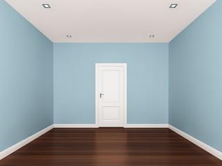 light blue ,empty room,3d nterior