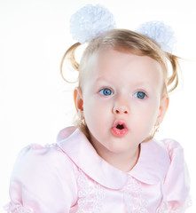 little girl surprised with open mouth