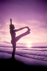 yoga woman sunrise