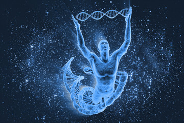 DNA molecules and human on the beautiful backdrop