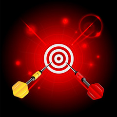 darts on red glittering background.target and darts.neon effect.