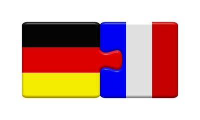 Puzzleteile: Deutschland und Frankreich zusammen