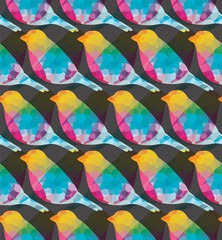 Wall Mural - Seamless pattern with colorful birds