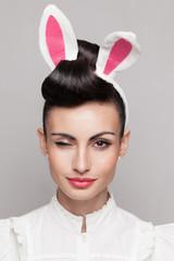 closeup of winking bunny girl face