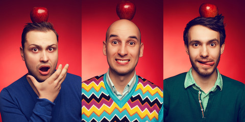 Emotive portrait of three funny & confused boys with apples