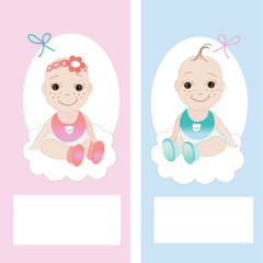 Baby girl&boy greeting card vector