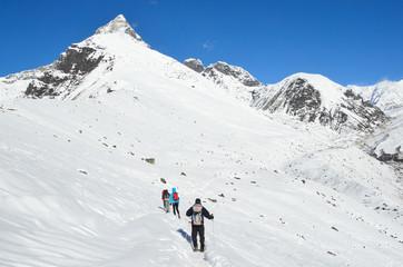 Непал, треккинг в Гималаях, туристы на тропе