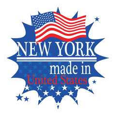 Label with flag and text Made in New York, vector