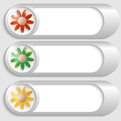 set of three silver buttons with flowers