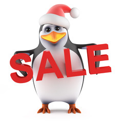 Santa Penguin holds a Christmas Sale