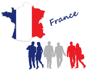 Map and flag of France next to silhouettes
