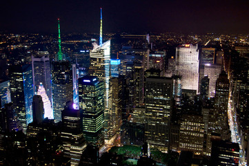 Manhattan de nuit depuis l'Empire State building