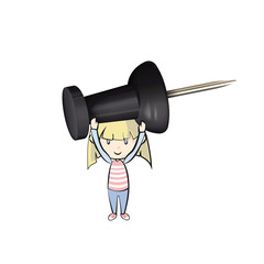 Kid holding a black pushpin.