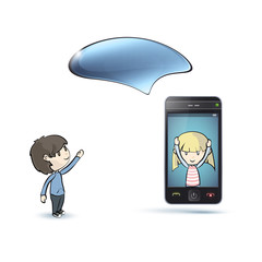 Kids around Phone with speech bubble.