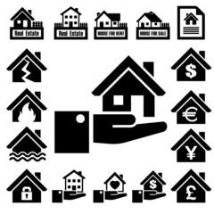 House insurance icons Set.
