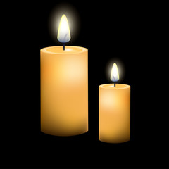 Two Candles On Dark Background