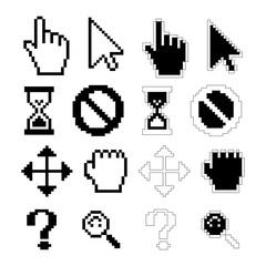 Pixel cursors icons, vector
