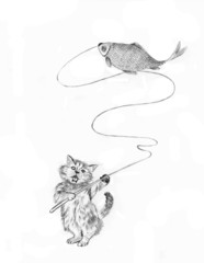 kitten fishing