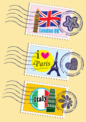 Foto op Plexiglas Doodle Country stamps icon collection set