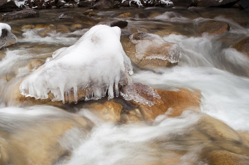 Rushing River Frozen Water Ice Rocks Winter Landscape Stream