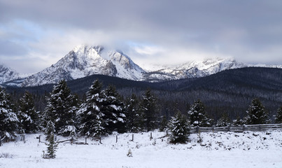 Sawtooth Mountain Range Deep Winter Landscape Idaho NRA