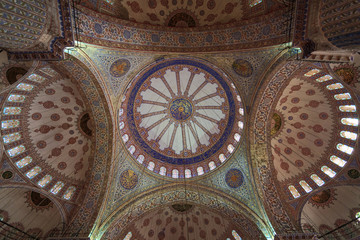 The interior view of blue mosque in istanbul