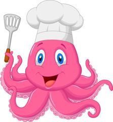 Octopus chef holding spatula