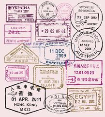 vector passport stamps