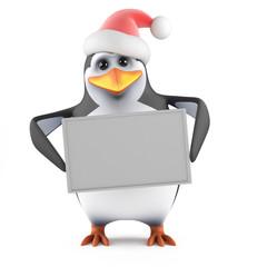 Penguin Santa holds a blank banner