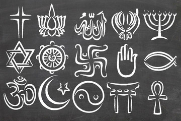 World Relgions Icons, symbols Wall mural