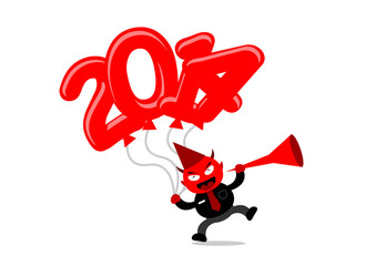 cartoon character with new year 2014 themes