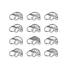 set of turtles with cute shell